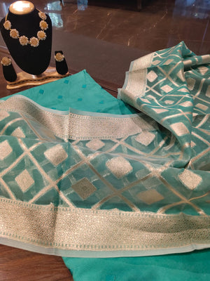Sea green chanderi dress material with silver weaving on duptta - EthnicRoom