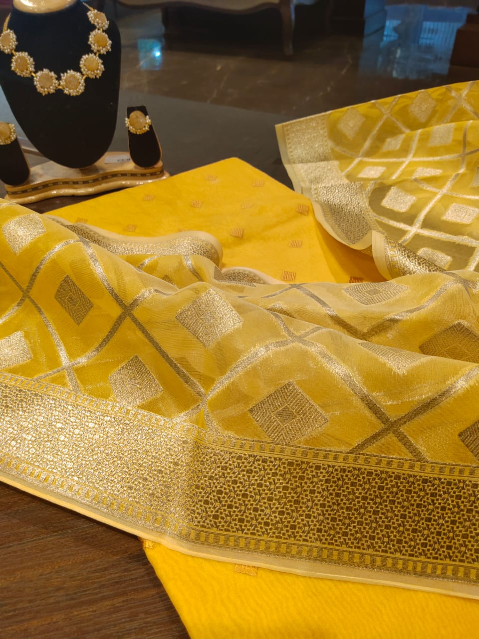 Yellow Chanderi dress material with silver weaving on dupatta - EthnicRoom