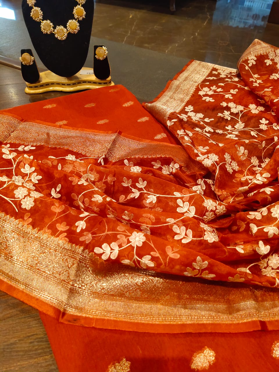 Red Chanderi dress material with embroidery on organza dupatta - EthnicRoom