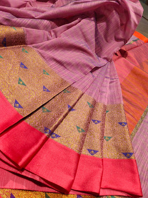 Light purple Chanderi saree with golden zari weaving and pink border