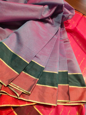 Light purple Chanderi saree with bottle green border and light red border