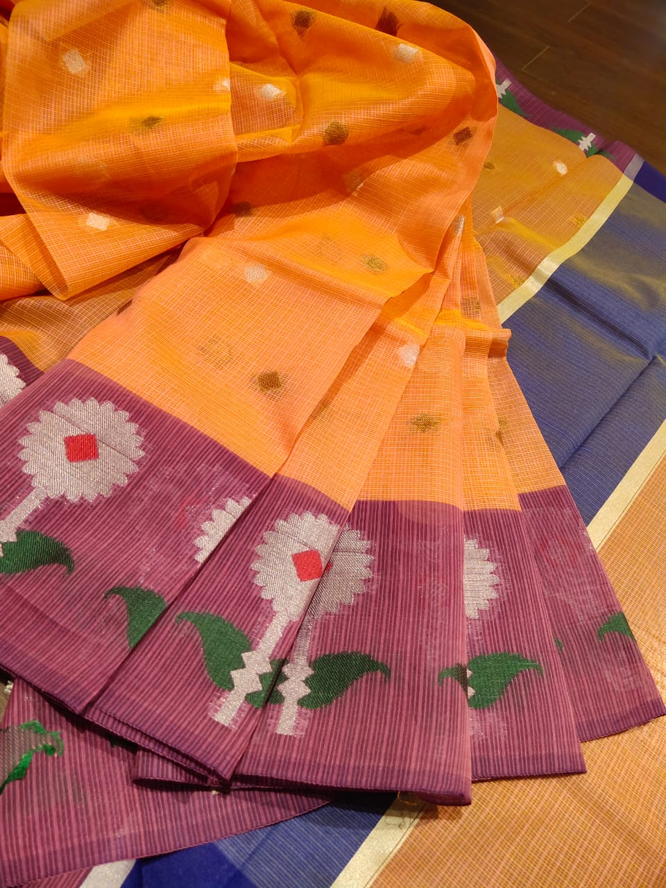 Light orange chanderi saree with golden booties all over and flowers on the border - EthnicRoom