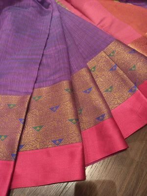 Purple Chanderi saree with golden zari weaving and pink border