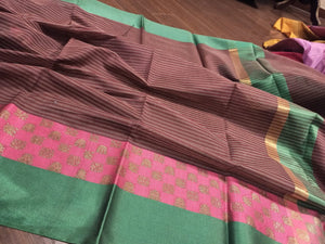 Brown chanderi saree with pink and green border and golden check it - EthnicRoom