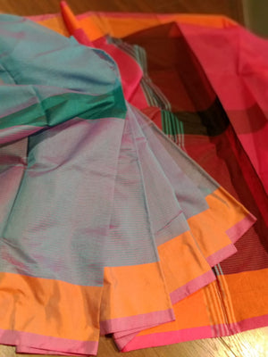 Sea green chanderi saree with orange and pink border