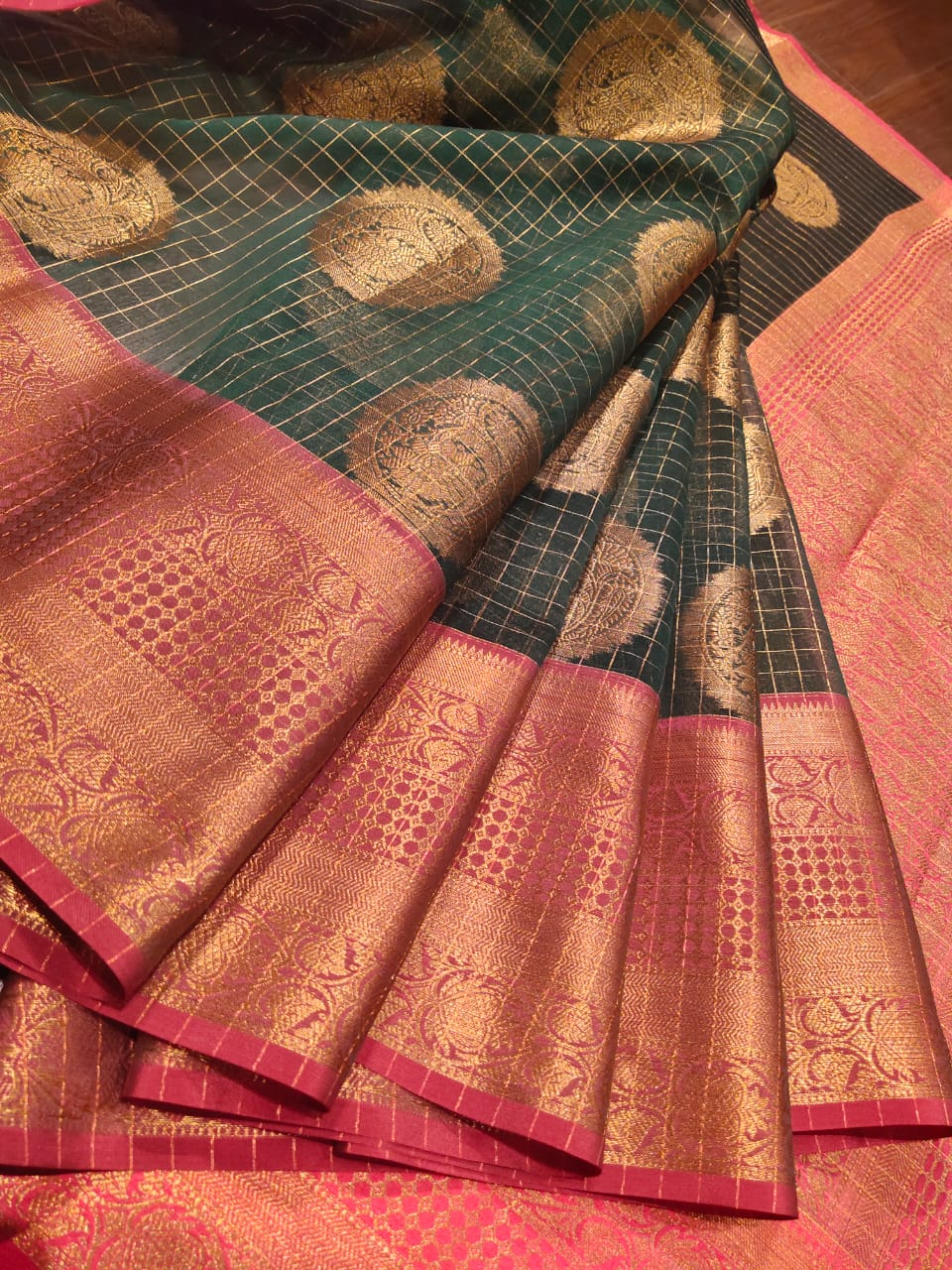 Green chanderi tanchoi kora saree with golden zari weaving on pink border and golden booties all over - EthnicRoom