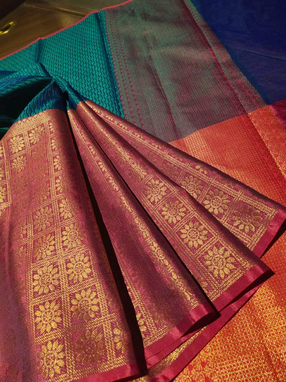 Horizontally divided into green and pink tanchoi kora saree with golden weaving on pink - EthnicRoom