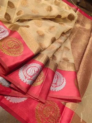 Cream kora saree with golden booties on pink border and booties all over - EthnicRoom