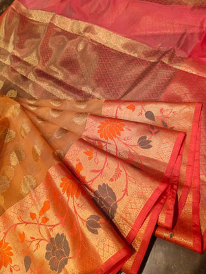 Light peach kora saree with golden zari weaving and booties all over