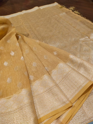 Yellow linen saree with silver zari weaving and booties all over - EthnicRoom