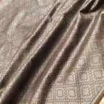 Brown linen saree with silver weaving all over - EthnicRoom