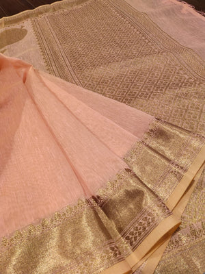 Light pink linen saree with golden zari weaving