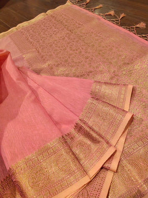 Pink linen saree with golden zari weaving - EthnicRoom