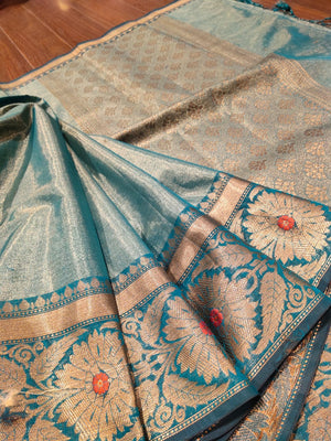Sea Green chanderi saree with golden zari weaving - EthnicRoom