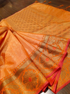 Orange chanderi saree with golden zari weaving - EthnicRoom