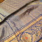 Blue Chanderi saree with golden zari weaving - EthnicRoom