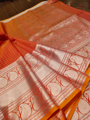 Orange check Chanderi saree with silver zari weaving