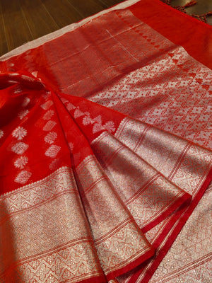 Red Chanderi saree with silver zari weaving and booties all over