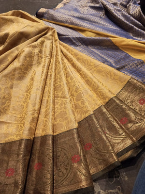 Yellow kanjivaram saree with golden resham jaal all over and zari weaving - EthnicRoom