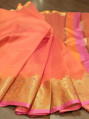 Orange kota saree with golden zari weaving - EthnicRoom