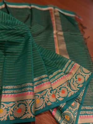 Bottle green chanderi saree with golden zari weaving - EthnicRoom
