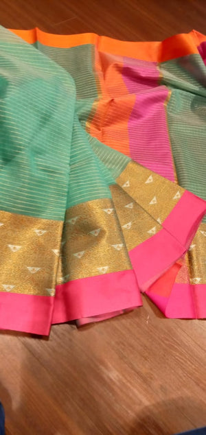 Green chanderi saree with golden zari weaving and pink border - EthnicRoom