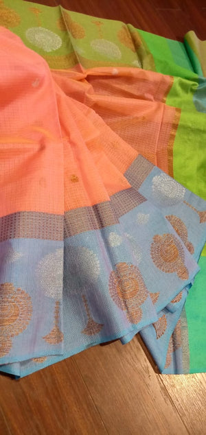 Light peach chanderi saree with silver and golden motifs on blue border - EthnicRoom