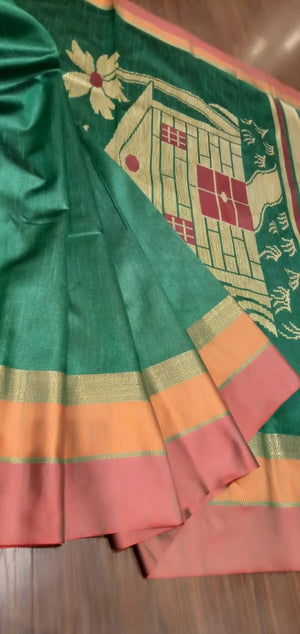 Green chanderi saree with golden,orange and light red border - EthnicRoom