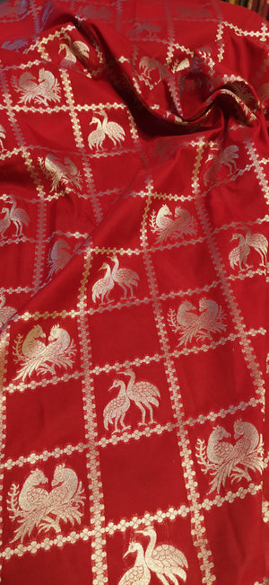 beautiful motifs in silver zari checks red blouse fabric - EthnicRoom