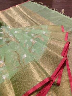 Light green kota saree with golden with silver motifs all over and golden zari weaving - EthnicRoom