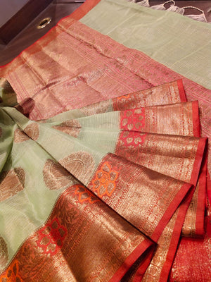 Green kota saree with golden zari weaving and booties all over - EthnicRoom