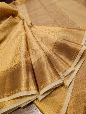 Yellow supernet kota saree with golden zari weaving - EthnicRoom