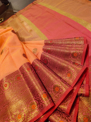 Orange kota saree with golden zari weaving and booties all over - EthnicRoom
