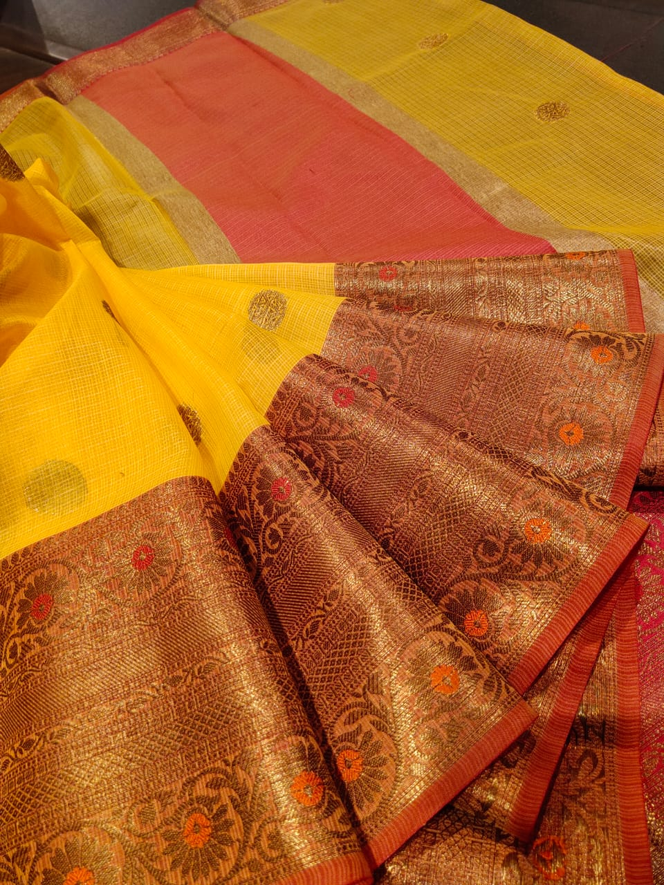Yellow kota saree with golden zari weaving and booties all over - EthnicRoom