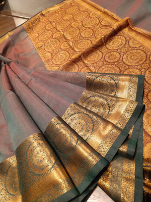 Brownish red kota saree with golden zari weaving - EthnicRoom