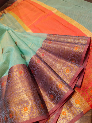 Sea green kota saree with golden zari weaving and booties all over - EthnicRoom