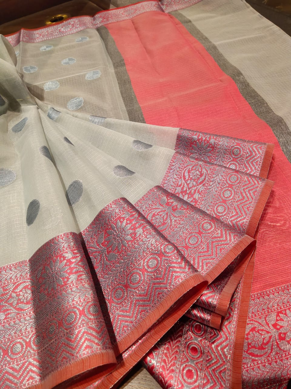 Off white kota saree with silver zari weaving and booties all over - EthnicRoom