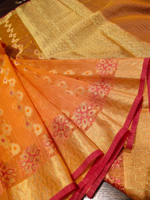 Orange kota saree with golden weaving all over and golden zari weaving - EthnicRoom