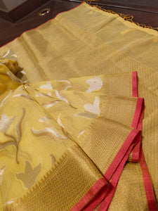 Yellow kota saree with golden and silver motifs all over and golden zari weaving - EthnicRoom