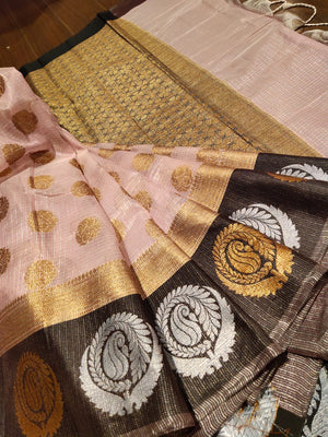 Light pink kota saree with golden and silver motifs on black border and golden booties all over - EthnicRoom