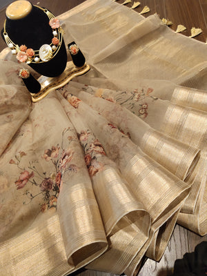 Beige digital print kora saree with golden zari border - EthnicRoom