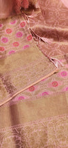 Light peach soft linen saree with wide floral golden zari border