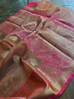 Dark peach kora silk saree with golden zari weaving border and booties