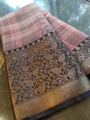 Pink kora silk saree with black broad checks all over  and black border