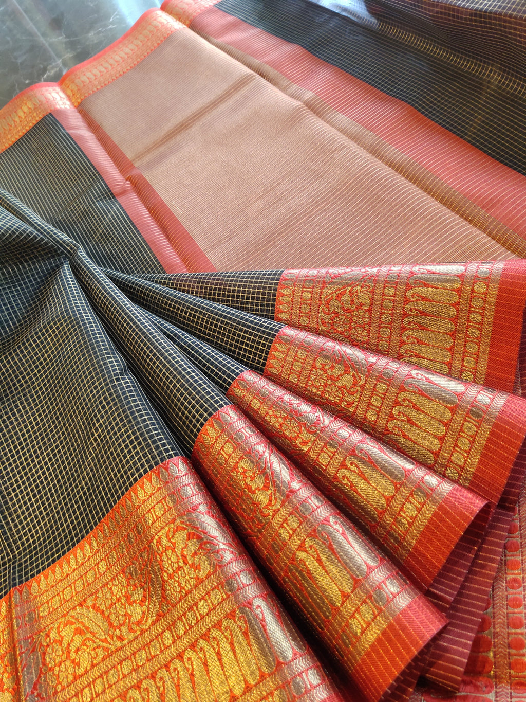 Black with small golden checks all over and zari weaving border - EthnicRoom