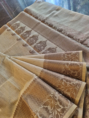 Beige kota saree with golden zari weaving border - EthnicRoom