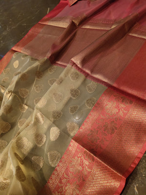 Cream kora silk saree with all over zari booties