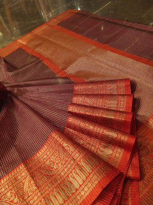 Red kora silk saree with golden small checks all over and golden zari weaving border in red