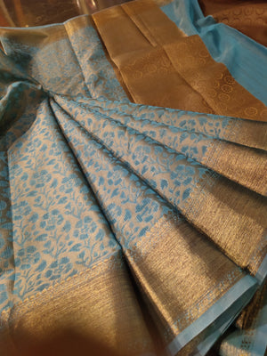 Blue supernet kota saree with golden zari border