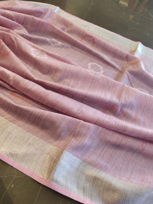 Baby pink linen saree with silver border - EthnicRoom